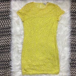 Diane Von Furstenburg yellow lace dress